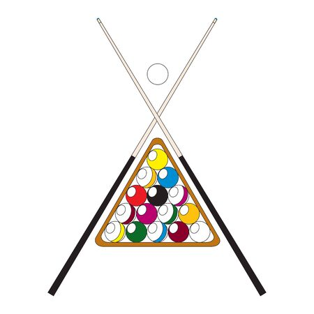 Billiard Ball with Cue Concept Ready for Cards, Posters. Fun Activities and Leisure Vector illustration