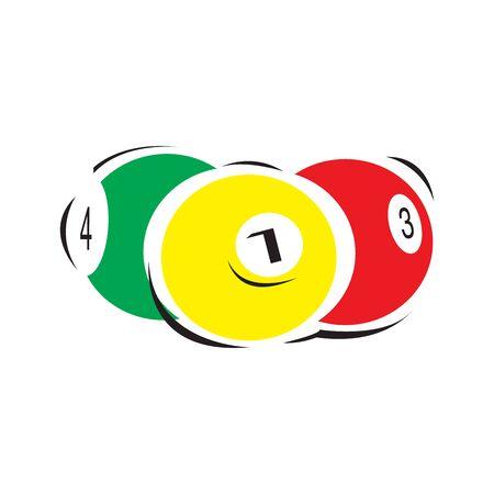 Billiard, pool balls. Snooker. Cartoon balls on white background. Vector illustration.