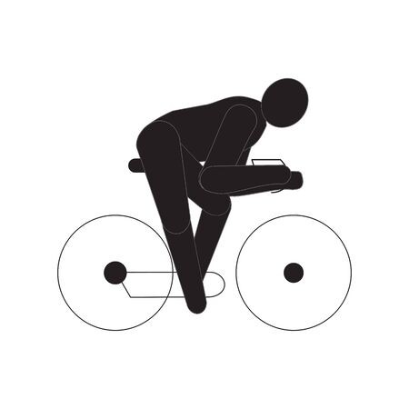 Bike with cyclist line icon. linear style sign for mobile concept and web design. Man riding bike outline vector icon. Summer sports symbol, logo illustration. Pixel perfect vector graphics