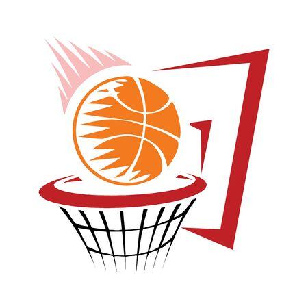 Basketball grunge cartoon on white background Çizim