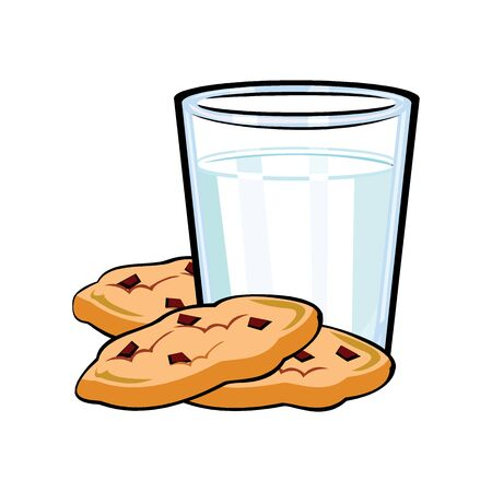 A glass of milk and cookies for Santa 向量圖像