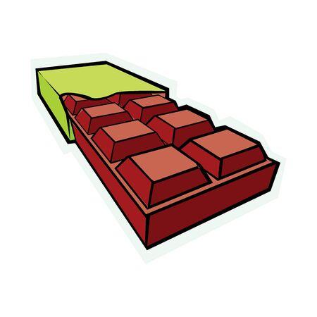 Chocolate bar vector isolated on white Çizim