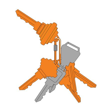 Bunch of keys vector illustration in a flat style. The concept of privacy, security and protection. Yellow house keys. Çizim