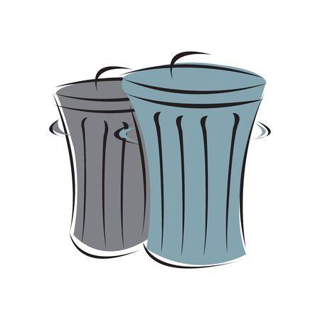 trash icon, vector on white background editable eps10 Çizim