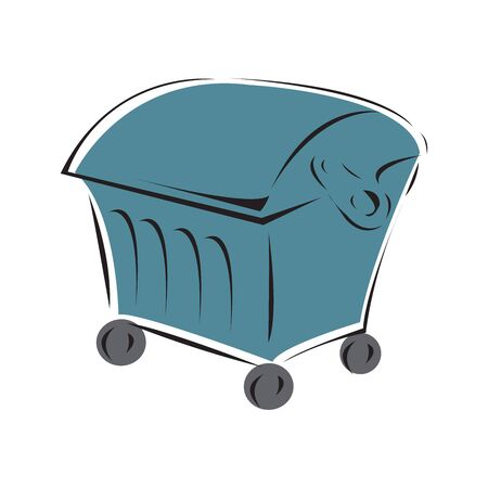 Garbage container on a wheels isolated on a white background