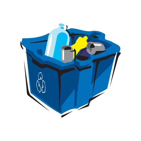 Trash can with Rubbish isolated. Wheelie bin with Garbage on white background. Dumpster iron. peel from banana and stub. Tin and old newspaper. Bone and packaging. Crumpled paper and plastic bottle