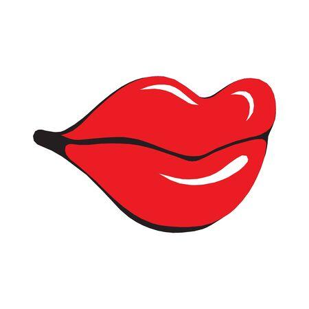 Lips icon. sexy red lips illustration Çizim