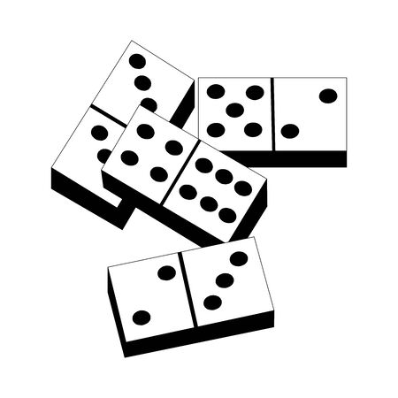 Row of white dominos on white background. Concept of Domino effect. Vector illustration in flat isometric stile