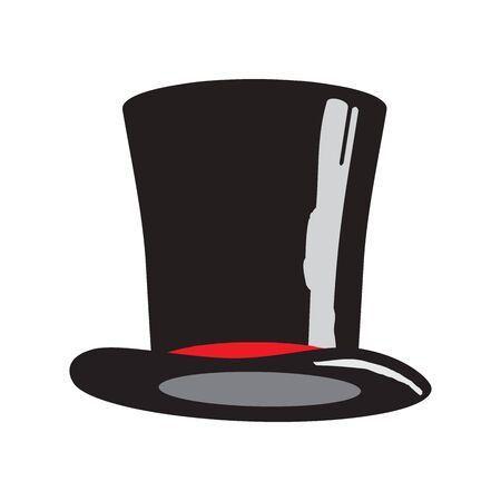 Sombrero negro aislado sobre fondo blanco. Ilustración de vector.