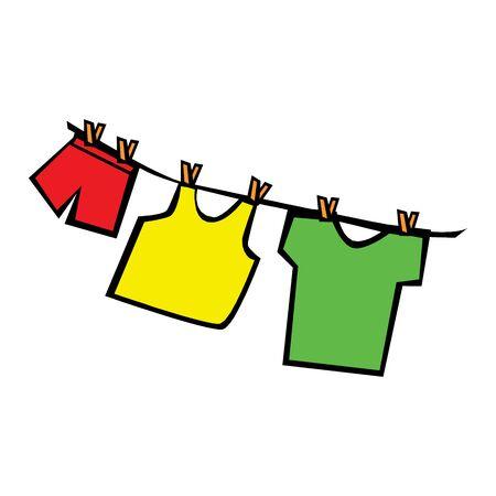 Illustration of laundry Hanging on a Clothesline Illusztráció