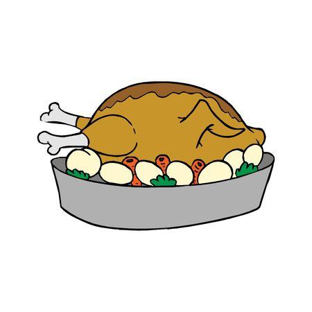 Thanksgiving turkey dish menu delicious illustration White background