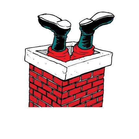 lustiger Comic-Weihnachtsmann ist im Schornstein auf dem Dach stecken geblieben, Vektor-Grußkarte