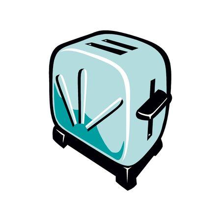 Toaster, bread, flat Çizim