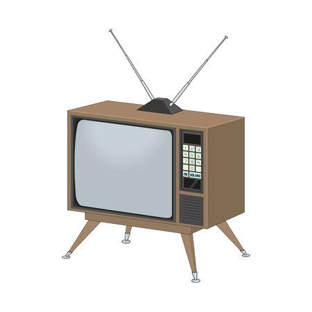Old-fashioned retro TV. Illustration on white background