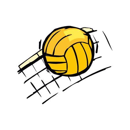 Sport ball volleyball with net Illusztráció