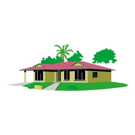 Isometric icon house home. Residence building the city landscape three-dimensional vector symbol concept Иллюстрация