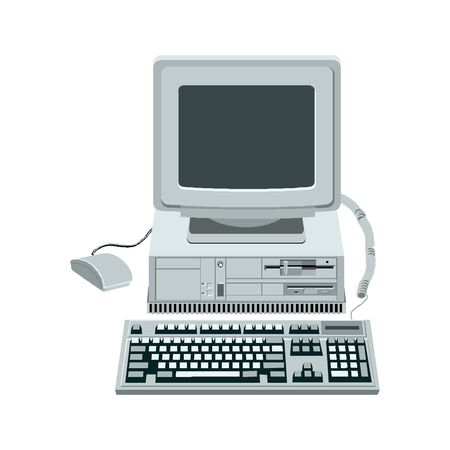 The retro desktop white computer with monitor, keyboard and mouse on the white background Vetores