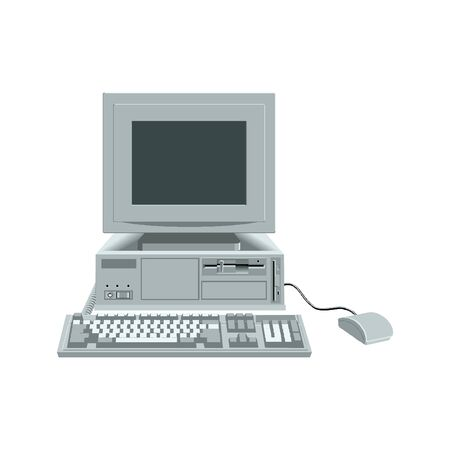 The retro desktop white computer with monitor, keyboard and mouse on the white background in EPS10
