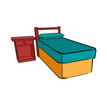 Illustration of a bed beside a window on a sunny day. Illustration