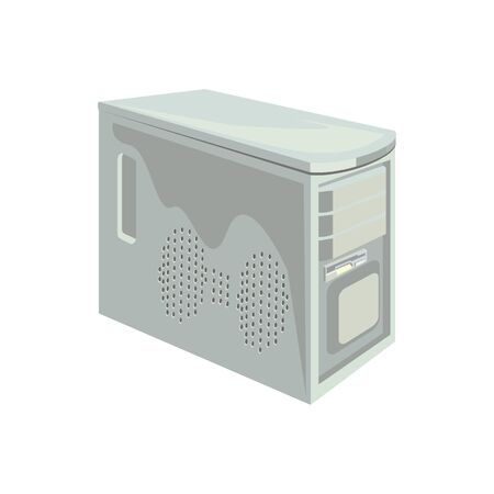 The retro desktop white computer with monitor, keyboard and mouse on the white