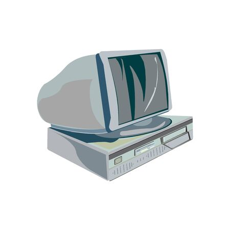 The retro desktop white computer with monitor, keyboard and mouse Иллюстрация