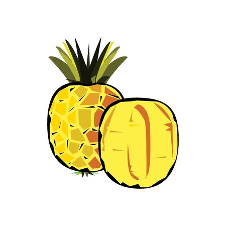 Pineapple isolated on white. Tropical healthy tasty fruit, sweet ananas. Ananas pineapple slices. Healthy food concept.