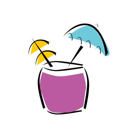 Cocktail Icon Vector. Summer Alcoholic Drink. Holiday Beach Party Menu. Illustration