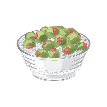 Olives in plate icon. Cartoon of olives in plate vector icon for web design Illustration