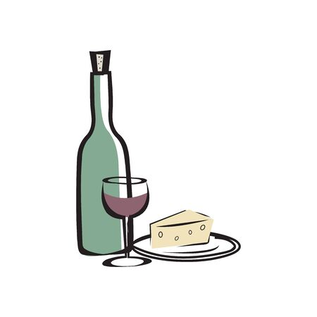 Vector illustration of the red wine bottle with cheese on white background with lettering.