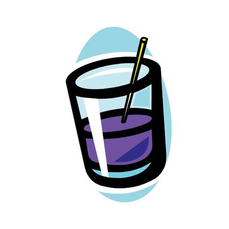 Vector color alcohol coctail drink in glass Stock Illustratie