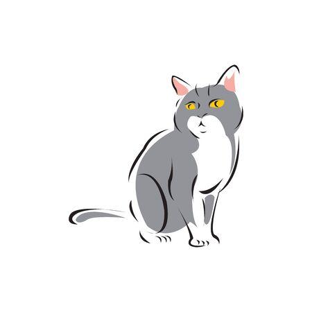 Cute grey cat cartoon isolated