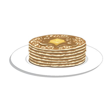 Pancakes on plate with cream and maple syrup sweet vector illustration. Illustration