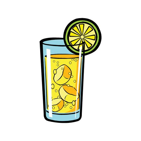 Glass of lemonade with lemon slice. Vector illustration.