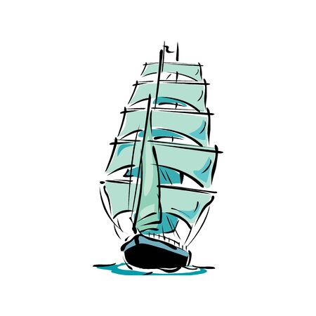isolated sailboat icon isolated on a white background Illustration