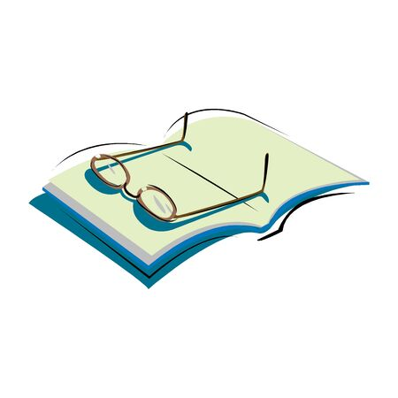 Vector illustration of open book and glasses isolated on a white
