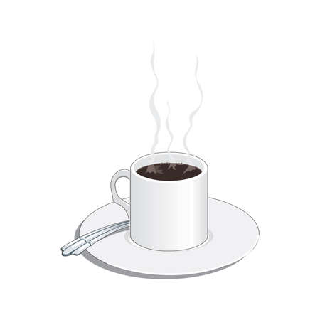 Coffee shop  template, natural abstract coffee cup with steam, coffee house emblem, creative cafe  , modern trendy symbol design vector illustration isolated on white background sign 矢量图像