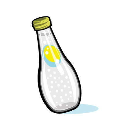 Soda bottle with drips and highlights isolated on a white