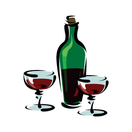 Vector illustration with black wine bottle, lettering phrase and two glasses. Working from nine to wine.
