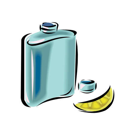 detailed vector single hip flask on white background Vector Illustration
