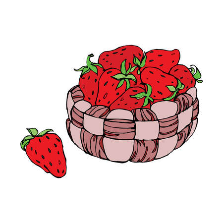 Basket with a strawberry isolated on a white background