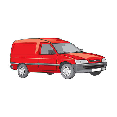 Vector illustration of moving delivery van isolated on a white background