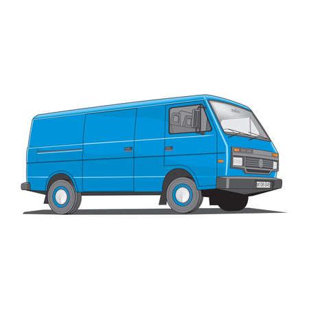 Vector illustration of moving delivery van isolated on a white background Ilustração Vetorial