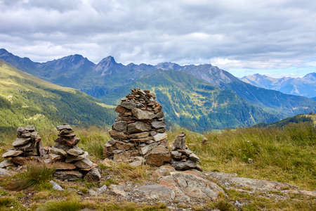 View from mountain in Austrian Alps at Grossglockner high alpine road Stock Photo