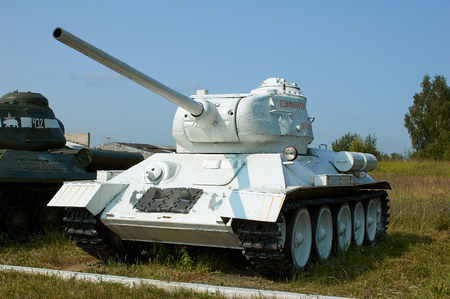 MOSCOW REGION, RUSSIA - JULY 30, 2006: Tank T-34 built by the Soviet Union at the beginning of World War II, the Tank Museum, Kubinka near Moscow