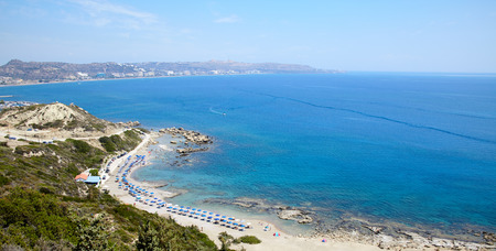 Rhodos island, Faliraki nudist beach panorama, Greece Stock Photo