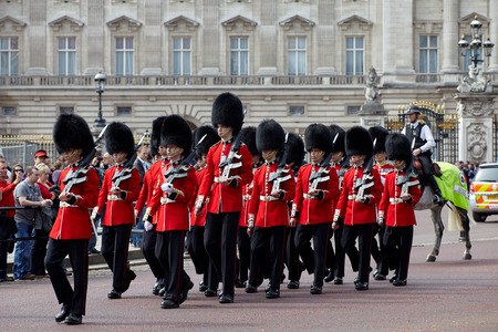 London, UK - April 16, 2011: Change of the Royal Guard ceremony at Buckingham Palace Editorial