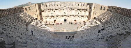 Roman amphitheater of Aspendos ancient city near Antalya, Southern Turkey. Wide panorama view