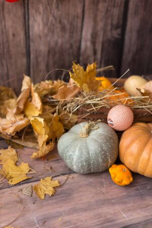 Backgrounds and textures. On a wooden background yellowed leaves with wicker boxes, pumpkins and garland,