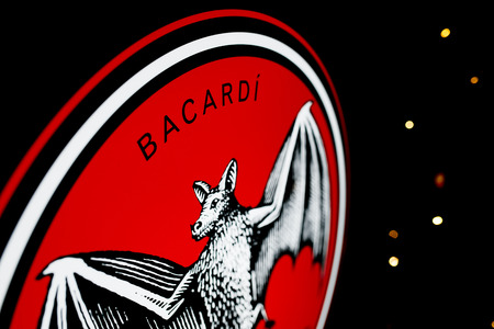 "Best photo of logo of ""BACARDI"" on the black background"
