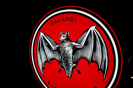"""Best photo of logo of """"BACARDI"""" on the black background Editorial"""